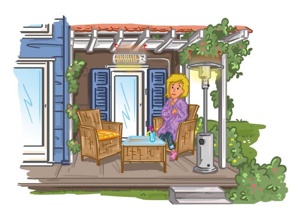 Terrassenheizstrahler - Gas- und gewöhnliche Elektroheizer erwärmen nur die Luft