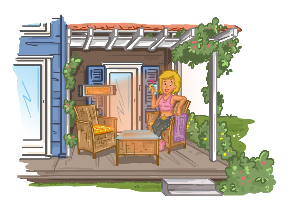 Terrassenheizstrahler - Infrarotstrahlen erwärmen direkt den Menschen