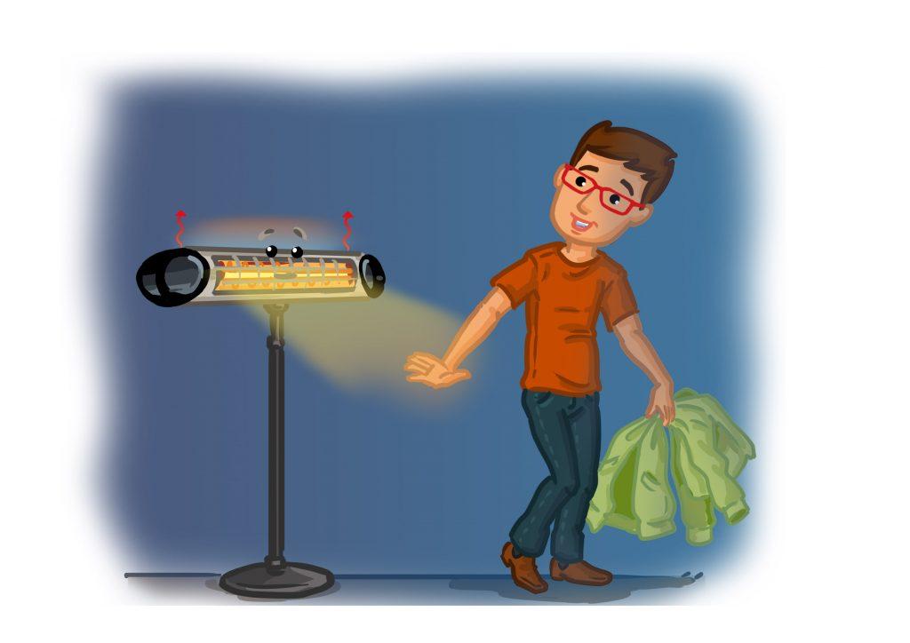Terrassenstrahler elektrisch-Infrarot erwärmt den Menschen